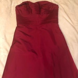 Ann Taylor burgundy strapless dress